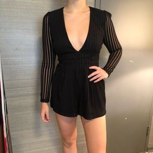 Black and Sheer long sleeve romper